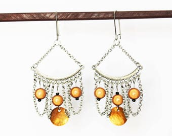 Earrings with chandelier, stainless steel chains and Pearl sequin