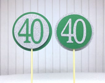 "40th Birthday Cupcake Toppers - Silver Glitter & Emerald Green ""40"" - Set of 12 - Elegant Cake Cupcake Age Topper Picks Party Decorations"