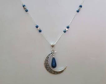 "Beautiful necklace and earrings ""starry Moon"" genuine blue Hematite"