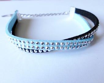 Double bracelet suede black/turquoise