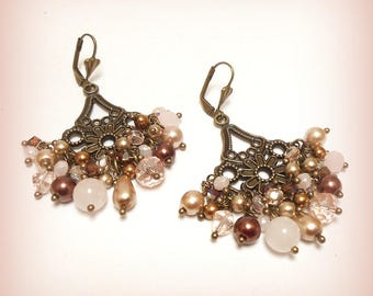 "Earrings Crystal and bronze ""Sweetness in pink!"""