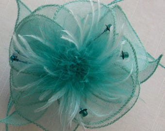 Large turquoise organza flower barrette, feathers and beads