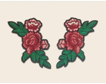 A pair red rose patches - Iron on patch flower, vintage flower patch, floral applique, floral adhesives, floral fabric patch, flower patch