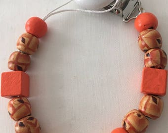 Pacifier clip with personalized wooden baby mixed beads