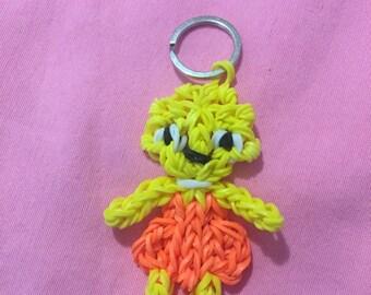Rainbow Loom door keys/figurine girl with ponytails