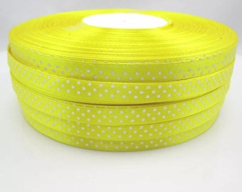 5 Metters yellow dotted satin ribbon satin ribbon
