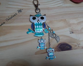 OWL keychain or bag charm turquoise
