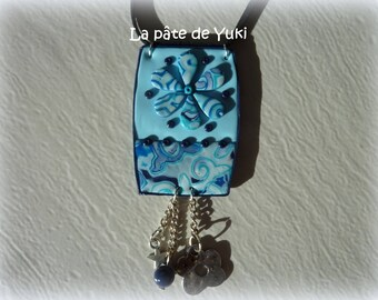 Blue rectangular necklace handmade polymer clay