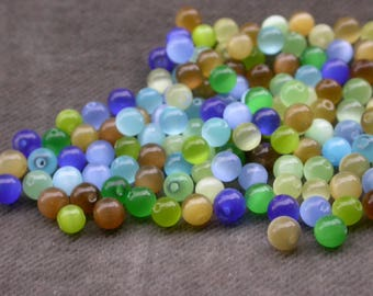 set of 50 mixed color cat eye beads