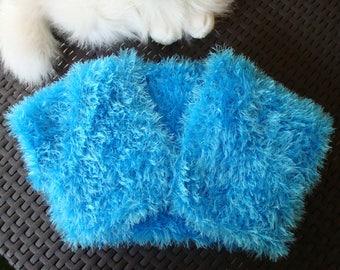 BOLERO, VEST blue kids 4/5 years, handmade fur yarn knit, wedding