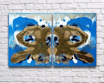"""RoR #4 Full Color Mixed Medium Rorschach Wall Art Accented by Gold Leaf Twin Canvas Set (16"""" x 20"""" each   total 32"""" x 20"""")"""