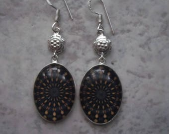 Earrings in 925 sterling silver and midnight blue glass yellow and orange patterns