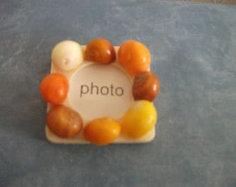 Magnet photo handmade 4.5 cm x 4.5 cm shells and wood holder