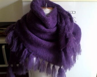 Hand knitted purple mohair scarf
