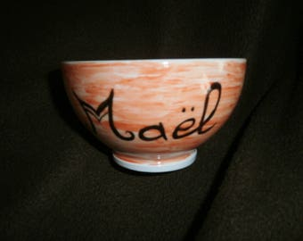 Tribal dragon design custom hand painted porcelain bowl
