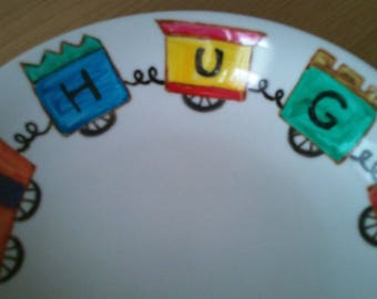 'train' painted porcelain plate personalized with name max 6 letters