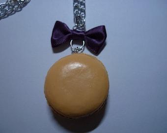 Necklace - Macaron peach polymer clay