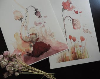 2 designs - Print - watercolor - A4 size - 2 designs to choose from available artworks