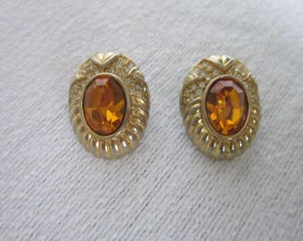 Vintage Designer Signed  Gold Tone Earrings with Amber Glass Faceted Stone