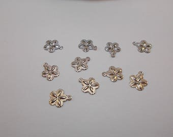 1 set of 10 charms 3D silver metal filigree flowers