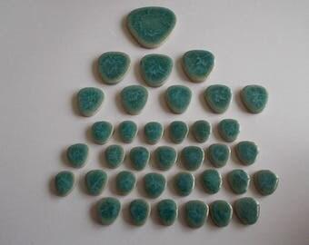 "1 set of 36 ""CERADAL LIMOGES"" duck blue mosaic tiles"