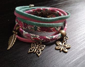 """Bracelet liberty """"petal and bud"""" pink and green, bronze feather charms"""
