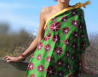 Mini wax ethnic cotton asymmetric dress