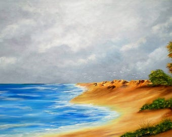 "Painting on canvas ""Listing of the storm"""