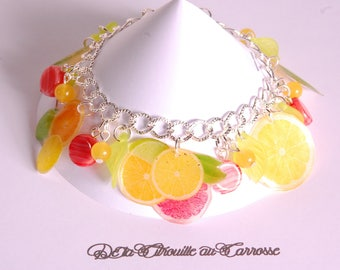 Citrus, lemon, grapefruit, orange, lime green bracelet