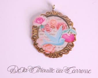 Blue Bird Locket pendant, flowers