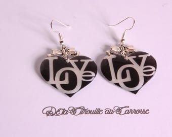 Black Heart Earrings, LOVE