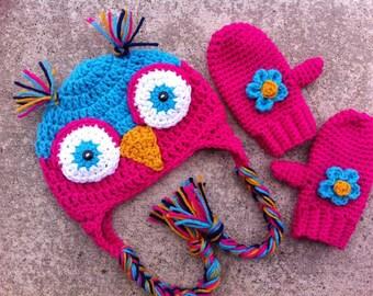 Crochet Earflap Owl Hat and Mitten Set