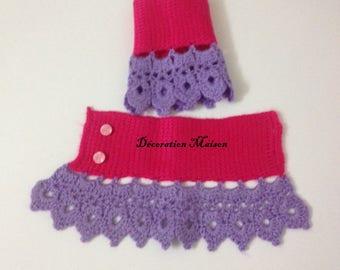 Tunisian crochet purple pink mittens
