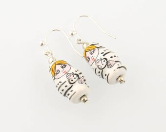 """Earrings """"Russian Doll"""" white"""