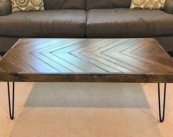 Handcrafted Chevron Coffee Table