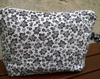 Black and white flowers makeup bag/pouch bag