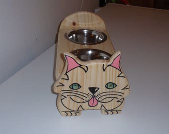 support wood and stainless steel cat Bowl