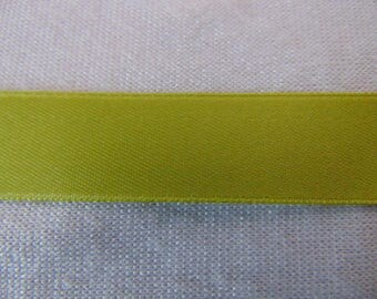 Satin ribbon, green watercress, width 6 mm (S-0817)