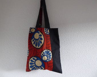 Tote bag in black cotton and red blue and white wax