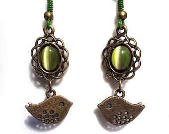 "Earrings ""Moss Green Birds"", green cat's eye and birds."