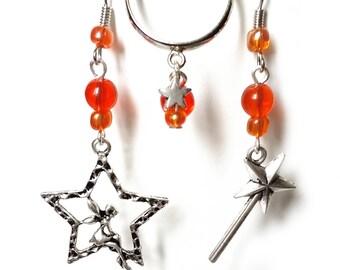 Finery 'Magic' fairy in her star wand, Orange beads.