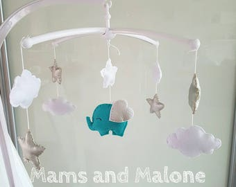 Musical Mobile for baby Elephant turquoise blue and silver gray