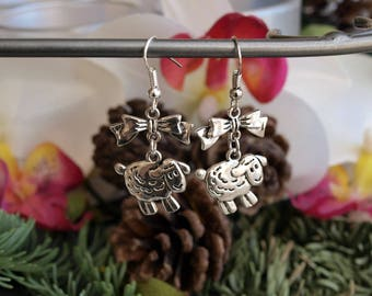 Sheep with bows earrings jewelry