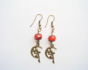 Orange fairy on Moon bead pendant earrings