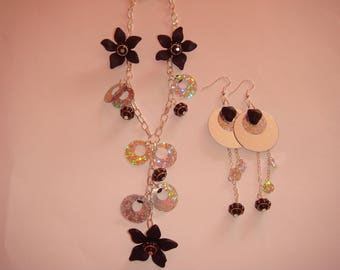 adornment necklace and Earring Set silver sequins