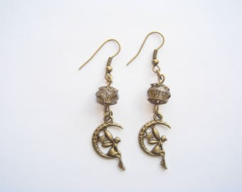 Fairy on Moon champagne Pearl Earrings