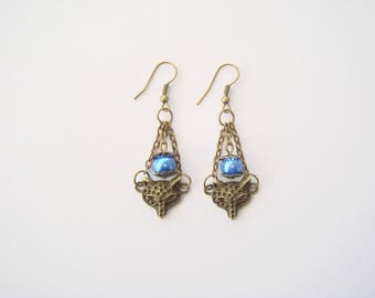 Earrings ethnic Fox head glass bead
