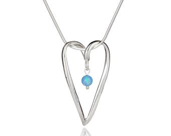 Silver and Opal Heart L Pendant