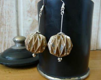 Origami earrings balls silver printed kraft paper
