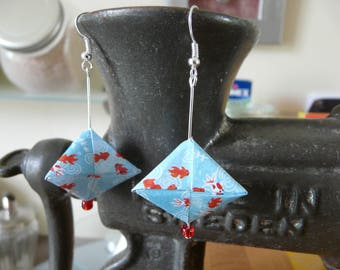 Stuffed goldfish and sky blue paper origami earrings